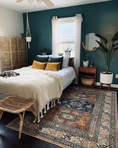 Bedroom Green, Bedroom Colors, Emerald Bedroom, Home Decor Bedroom, Diy Bedroom, Bedroom Ideas, My New Room, Home Decor Inspiration, Decor Ideas