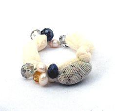 Bangle fabric bracelet white  with beads and shells by lillicose