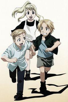 Anime/manga: Fullmetal Alchemist (Brotherhood) Characters left to right: Al, Winry, Ed.