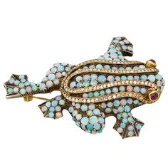 Delightful Opal  Diamond Gold Frog Brooch with Ruby Eyes