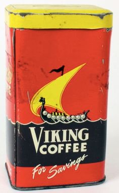 Viking Coffee Vintage Tins, Vintage Coffee, Antique Coffee Grinder, Coffee Tin, Coffee Is Life, Vikings, Give It To Me, Things To Come, Tin Cans