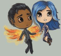 """""""I finished the Daughter of Smoke and Bone trilogy a lil while ago, so I obviously had to draw Karou and Akiva"""" by evalescoart"""