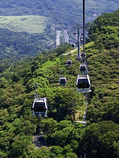 Maokong Gondola 貓空纜車  The Maokong Gondola System is the first suspended transportation system in Taipei City, shaped like the character 7 an...
