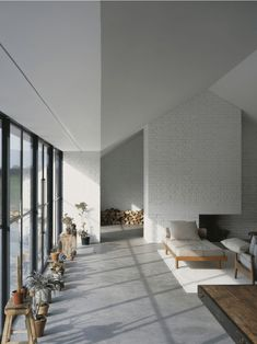 Stable Acre House by David Kohn Research, Architecture, Interiors David Kohn's Norfolk home for gallery owner Stuart Shave represents a. Interior Exterior, Home Interior, Interior Architecture, Interior Design, Barn House Conversion, White Brick Walls, White Wood, White Bricks, Piece A Vivre