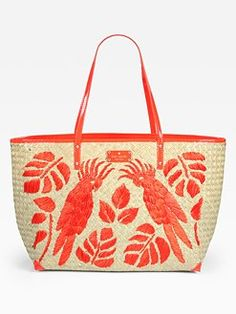 Kate Spade New York - Birds of Paradise Straw & Patent Leather Tote | #OKLsummer