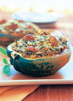 Pecan and Wild Rice-Stuffed Squash Recipe - Eat Healthy - Natural Home & Garden