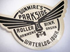 Vintage retro souvenir decal for skating roller rink / roller derby. Love the way the roller skate is set in the middle of a circular design with the wings breaking the outside the container Logos, Logo Branding, Branding Design, Logo Design, Classic Branding, Corporate Branding, Corporate Design, Retro Design, Roller Rink