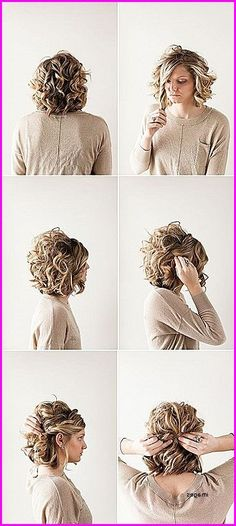 Pretty Updo Hairstyle For Short Curly Hair Prom Hairstyle Ideas 11 Cute Updos For Curly Hair 2018 Simple Prom Hair Hair Styles 5 Hairstyles That Require Zero Cu Short Hair Twist Styles, Medium Hair Styles, Curly Hair Styles, Short Curly Hair Updo, Curly Short, Short Pixie, Short Formal Hairstyles, Short Updo Hairstyles, Female Hairstyles