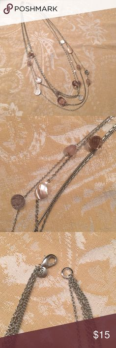 LOFT necklace Pretty four strand silver, pale pink, and smoke necklace. Excellent condition! LOFT Jewelry Necklaces