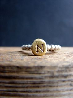 Hey, I found this really awesome Etsy listing at https://www.etsy.com/listing/179681932/custom-initial-stacking-ring-organic
