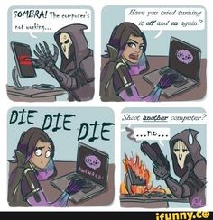 Image result for overwatch reaper sombra and widowmaker funny