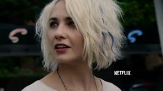 Sense8 Riley: the messy, wavy blonde bob with a chunk of blue