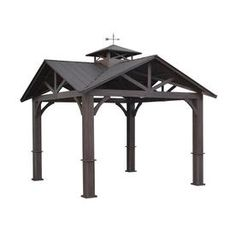 allen + roth Wood Looking Hand Paint Metal Square Semi-Permanent Gazebo (Exterior: x Foundation: x at Lowe's. A + R durable gazebo 12 ft. x 12 ft. with galvalume roof for year-round use. Backyard Pavilion, Backyard Patio, Backyard Landscaping, Sloped Backyard, Backyard Ideas, Interior Modern, Permanent Gazebo, Semi Permanent, Bedrooms
