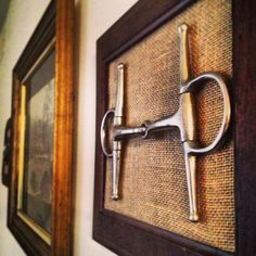 """the home or tack room: a bit over burlap & framed. """" This is how I will display Shetaan's Bit"""" to cherish foreverFor the home or tack room: a bit over burlap & framed. """" This is how I will display Shetaan's Bit"""" to cherish forever Equestrian Decor, Western Decor, Equestrian Style, Framed Burlap, Burlap Background, Tack Rooms, Horse Bits, Horse Crafts, My New Room"""