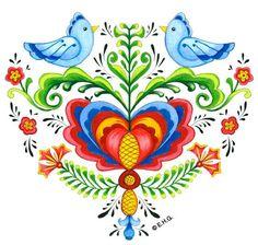 Magnetic Heart Tile: Lovebirds & Rosemaling
