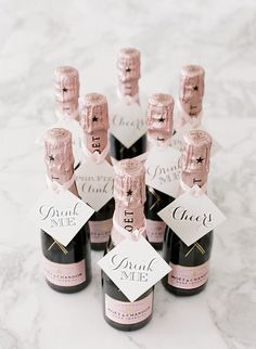 Your guests will obsess over these mini-champagne wedding favors! Leslee Mitchell Photography