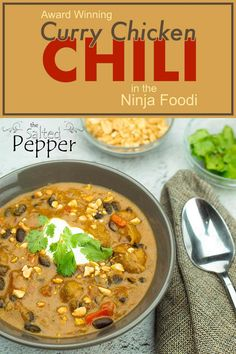 If you love chili and you love curry, you will love this one pot chili made right in your pressure cooker! I used the Ninja Foodi and cooked the rice in a pan right on top at the same time for an easy and quick dinner! Chicken Thigh Stew, Chicken Thigh Recipes, Chicken Chili, Ninja Recipes, Chili Recipes, Soup Recipes, Fire Roasted Tomatoes, White Chicken, Soup And Sandwich