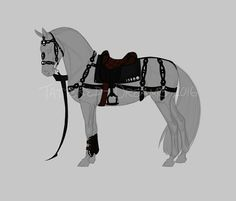 Tack Set Auction 2 - Closed by Tattered-Dreams Horse Armor, Horse Gear, Horse Tack, Horse Drawings, Animal Drawings, Arte Equina, Horse Animation, Medieval Horse, Horse Sketch