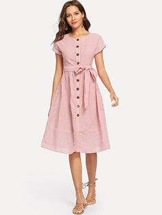 Shop Button Through Pinstripe Dress with Belt online. SheIn offers Button Through Pinstripe Dress with Belt & more to fit your fashionable needs. Red Fashion, Modest Fashion, Fashion News, Fashion Dresses, Womens Fashion, Style Personnel, Latest Dress, Frocks, Dress Patterns
