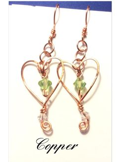 Heart earrings with a birthstone bead in the center. Beads are Swarovski bicones Have these custom made with your choice of wire color also with your birthstone. Clear Crystal, Crystal Beads, Crystals, Heart Earrings, Drop Earrings, Antique Copper, Birthstones, Great Gifts, Swarovski