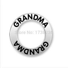 Antique silver stone alloy both sides grandma message print fashion grandma charm ,grandma message circle charm ,grandma affirmation ring charm .