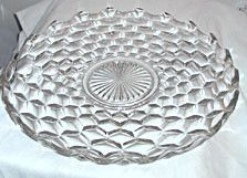 This is a large torte plate in the American pattern made by Fostoria. It measures inches across and has the edges turned up slightly. It is in good condition with no chips or cracks. Antique Glassware, Crystal Glassware, Fostoria American, Fostoria Glass, Antiques For Sale, My Glass, Vintage Dishes, Antique China, Vintage Home Decor
