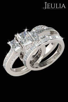3PC Three-stone Emerald Cut Created White Sapphire Rhodium Plated 925 Sterling Silver Women's Bridal Ring Set #jeulia