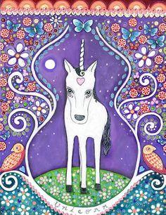Girls room art print white unicorn folk art magical mystical dream series birds hearts buttterflies mixed media childrens wall decor