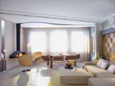 Гостиная-столовая с камином - Дизайн интерьера квартиры на ул. 8 Марта г. Тюмень
