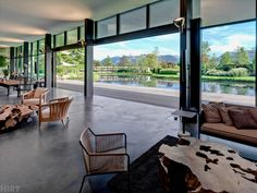 Relaxing living space with huge windows and french doors : by Descender Fronts by Kollegger Huge Windows, Wood Windows, Windows And Doors, Interior Architecture, Interior Design, Landscape Architecture, New Homeowner, Window Design, Creative Home