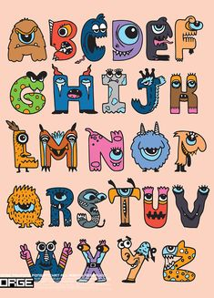 Halloween alphabet with funny monster characters,Monster Cartoon font , Hand Lettering Alphabet, Doodle Lettering, Creative Lettering, Graffiti Lettering, Bullet Journal Lettering Ideas, Bullet Journal Writing, Doodle Art Designs, Doodle Art Huruf, Cartoon Font