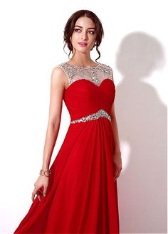 In Stock Delicate Chiffon Bateau Neckline A-line Prom Dresses With Beadings