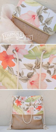 Vintage Tropical Fabric, Clutch & Beach Bag chapman at sea . com