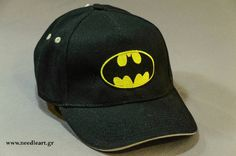 Baseball cap,Batmam logo,Caps, baseball cap,embroidery,machine embroidered, logo on baseball  hat by NeedleArtGR on Etsy