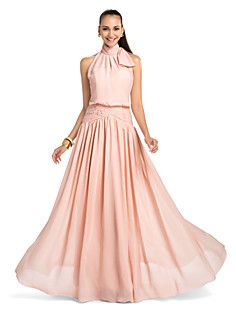 Sheath/Column High Neck Floor-length Chiffon Evening/Prom D... – USD $ 117.99