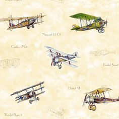 Vintage Planes Weathered Yellow #rollershades #windowtreatments #windows #modernwindowtreatments #colors #patterns #airplanes #vintage #lightblue #kidsroom #boysroom