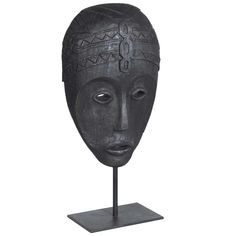 Carved Zig Zag Mask with Stand, Black | Objects - Accessories