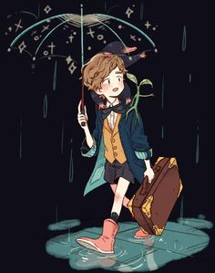 I love Newt Scamander's magical umbrella! He's doing a great job of keeping Picket the Bowtruckle dry.