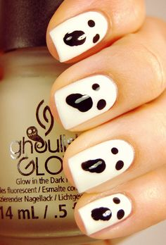 Glow-in-the-Dark Ghost Nails   25 Clever Nail Ideas For Halloween