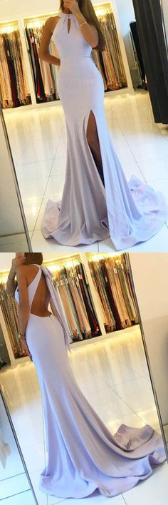 Backless Mermaid Long Prom Dresses with Side Slit,Simple Party Dresses PG510 #prom #dress #mermaid #pgmdress #eveningdress #partydress #longpromdress