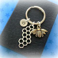 Fashion Honey Bee Rhinestone Alloy Keychain Crystal Keyring Gift Bee Keeper