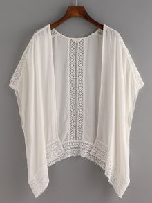 Lace Trimmed Kimono - White