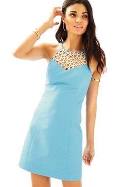 10bbb93b027e $198 Lilly Pulitzer Seaspray Blue Larina Gold Circle Lace Yoke Dress 12 NEW  L366