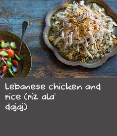 Lebanese chicken and rice (riz ala' dajaj) | A traditional Lebanese dish typically served for special occasions, this recipe exemplifies the importance of spices in Lebanese cuisine. The delicately spiced lamb and rice is topped with cinnamon-dusted chicken, golden almonds and pine nuts. Serve with your favourite salad.