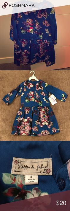 NWT Pretty Little girls floral silk  tunic size 6 Beautiful blue floral tunic, brand new with tags! Perfect for fall, can be worn with or without leggings 💕Please note that it runs one size smaller. Pippa & Julie Dresses