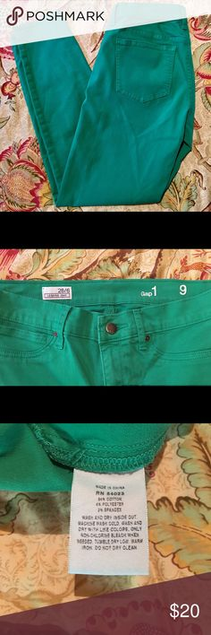 "Gap Green Legging Jeans Inseam 27 1/2"". Straight leg. Have some stretch to them GAP Jeans Skinny"