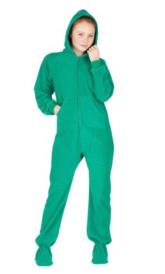 9595b1409 Forrest Green Hoodie One Piece - Kids Hooded Footed Pajamas | Hooded One  Piece Pjs