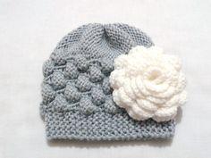 Baby Girl Hat,Newborn knit Hat,Photo Prop,Baby Knit Hat,Girl Knit Hat,Infant girl Hat,Newborn Girl,Baby Newborn Hat,Light Gray Baby Hat, - pinned by pin4etsy.com