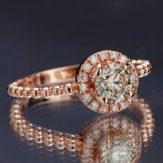 Champagne Diamond Engagement Ring, Rose Gold Diamond Halo Ring, Natural Light…