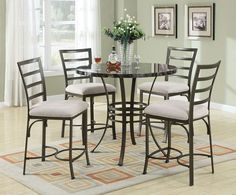 Acme Furniture - Daisy Metal/Faux Marble 5 Piece Counter Height Dining Set - 70090-5Set